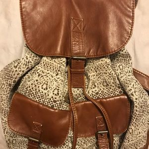 Patterned backpack purse
